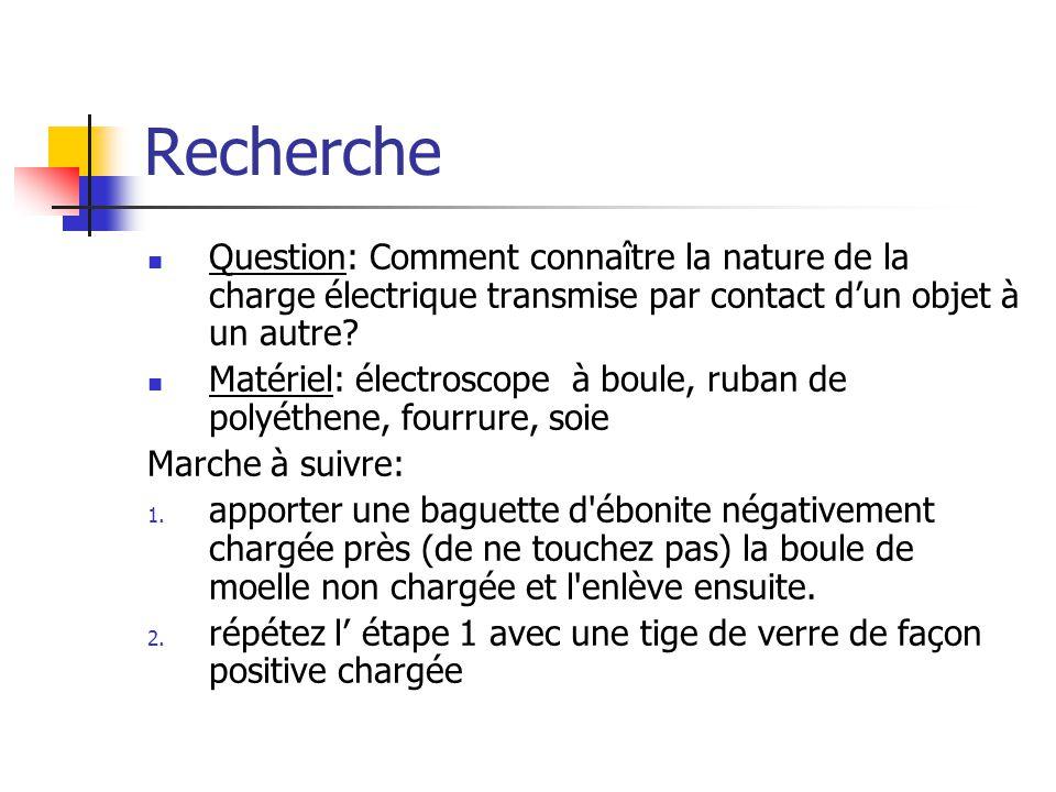 Recherche Question: Comment connaître la nature de la charge électrique transmise par contact d'un objet à un autre
