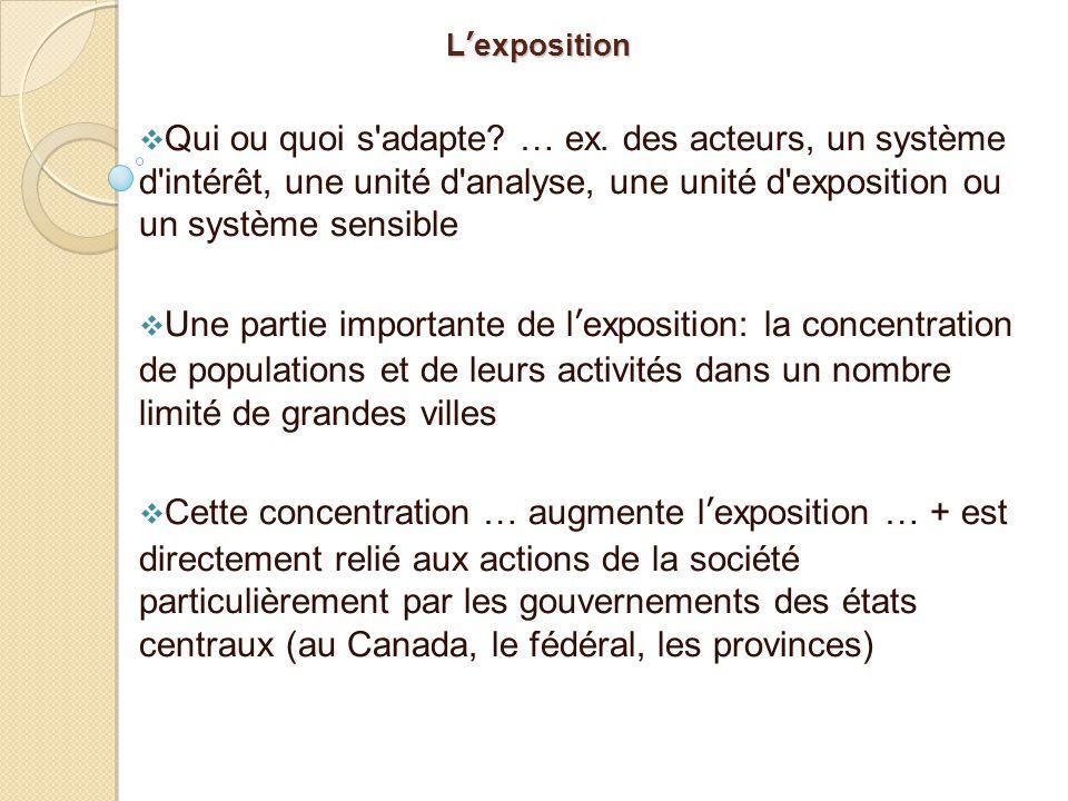 L'exposition Qui ou quoi s adapte … ex. des acteurs, un système d intérêt, une unité d analyse, une unité d exposition ou un système sensible.