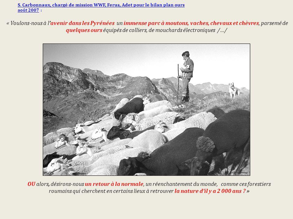 S. Carbonnaux, chargé de mission WWF, Ferus, Adet pour le bilan plan ours