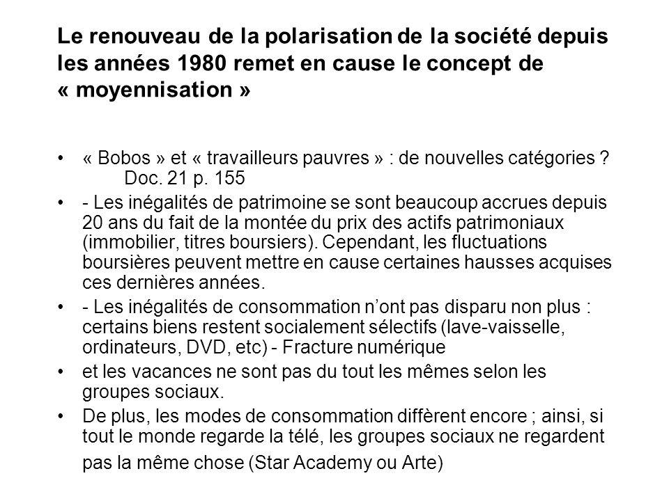 Le renouveau de la polarisation de la société depuis les années 1980 remet en cause le concept de « moyennisation »