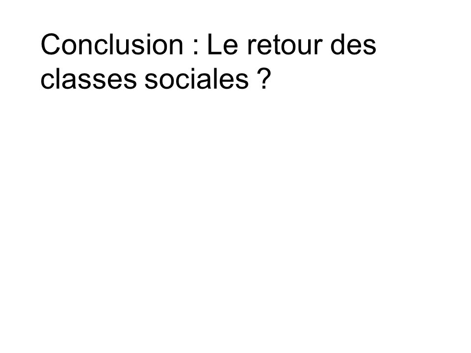 Conclusion : Le retour des classes sociales
