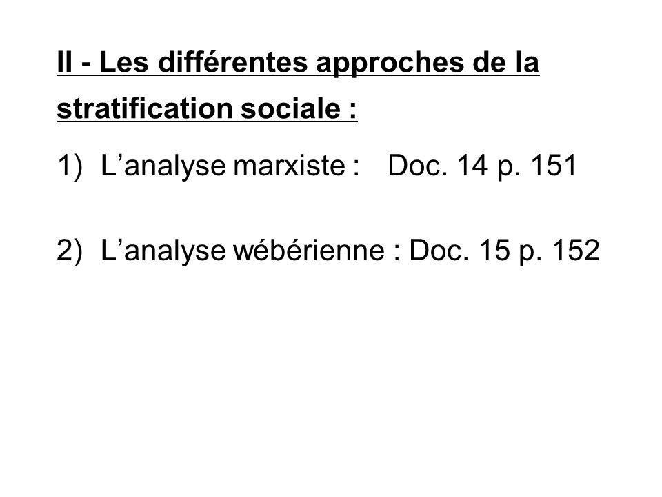 II - Les différentes approches de la stratification sociale :