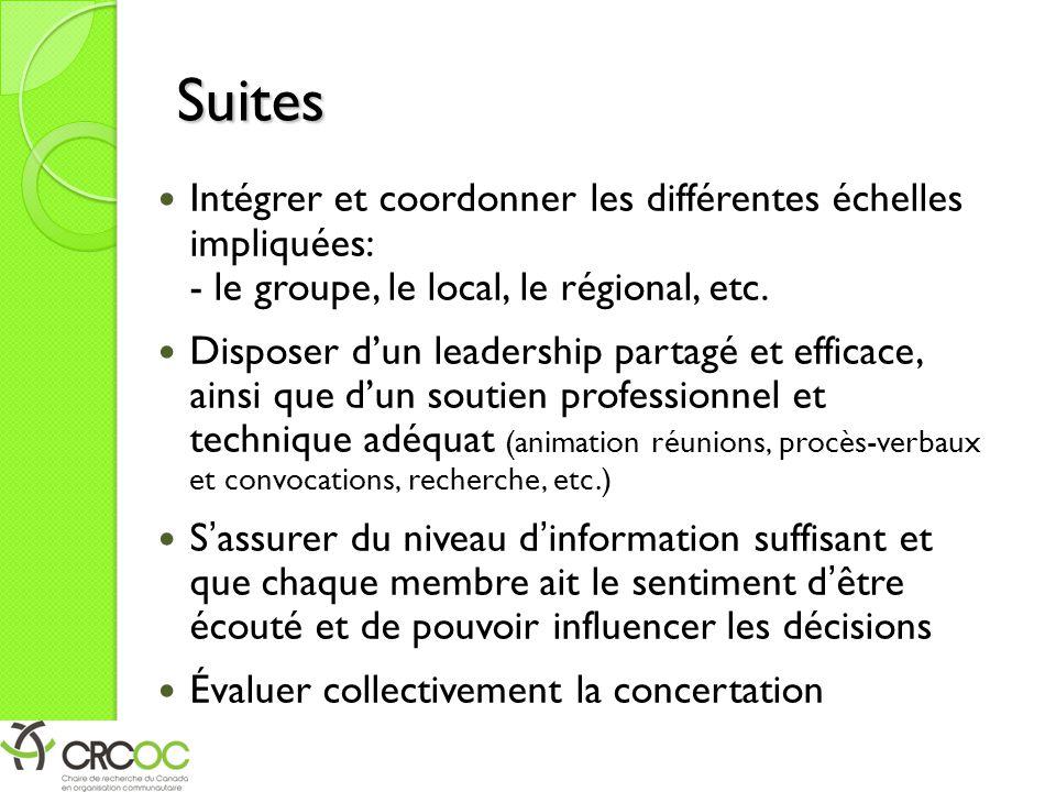 Suites Intégrer et coordonner les différentes échelles impliquées: - le groupe, le local, le régional, etc.