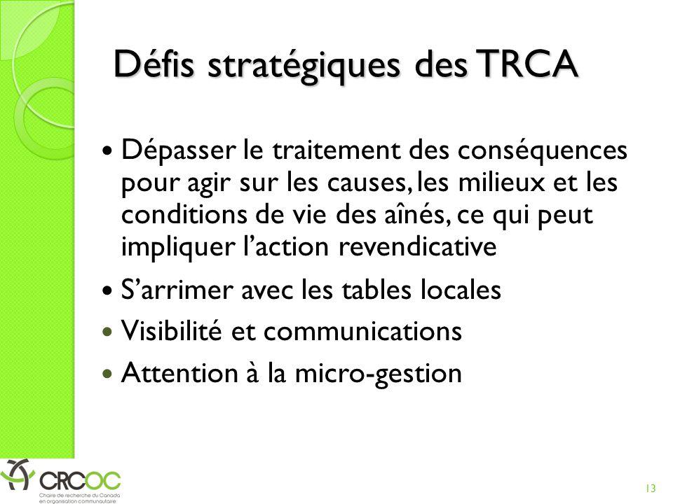 Défis stratégiques des TRCA
