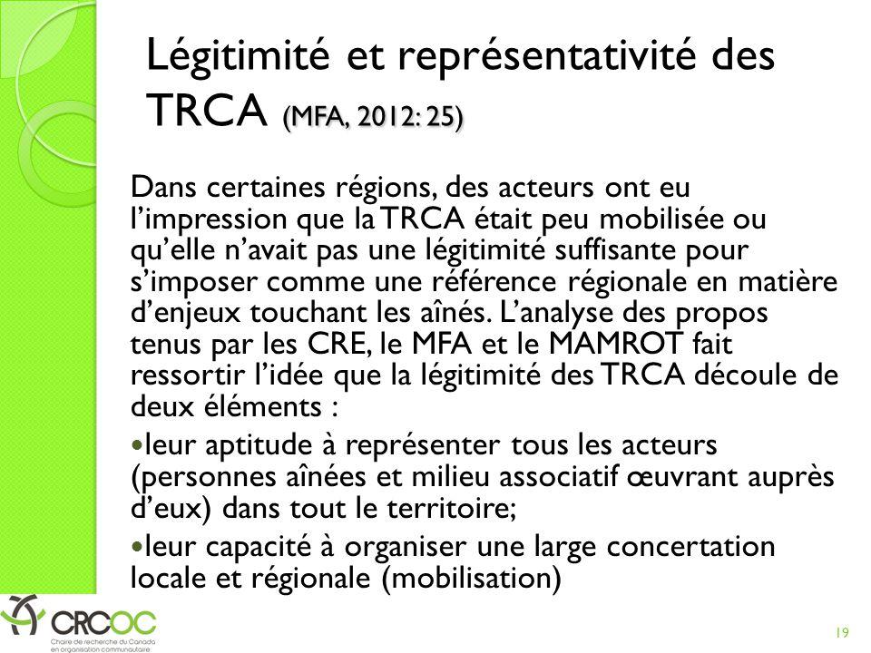 Légitimité et représentativité des TRCA (MFA, 2012: 25)
