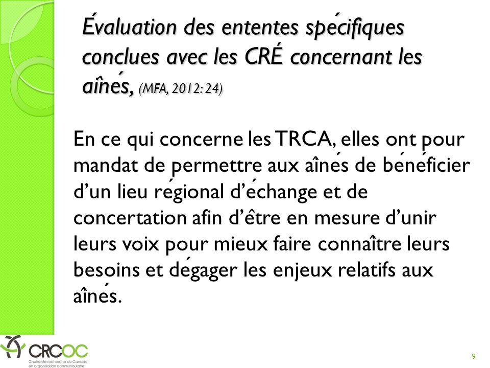 Évaluation des ententes spécifiques conclues avec les CRÉ concernant les aînés, (MFA, 2012: 24)