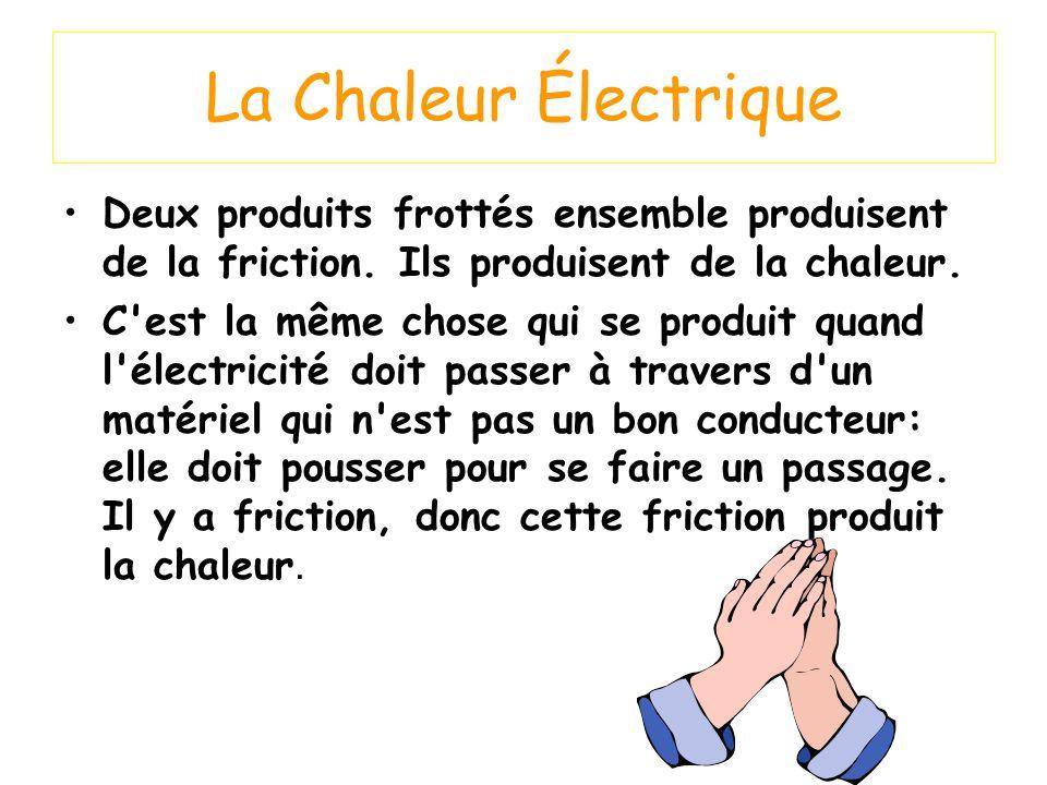 La Chaleur Électrique Deux produits frottés ensemble produisent de la friction. Ils produisent de la chaleur.