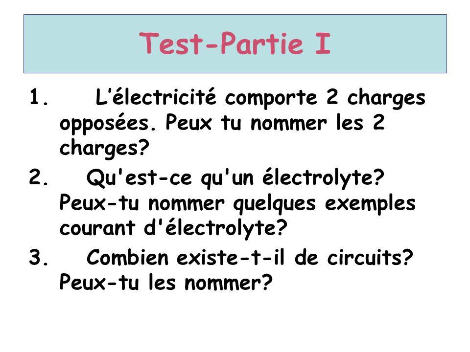 Test-Partie I L'électricité comporte 2 charges opposées. Peux tu nommer les 2 charges