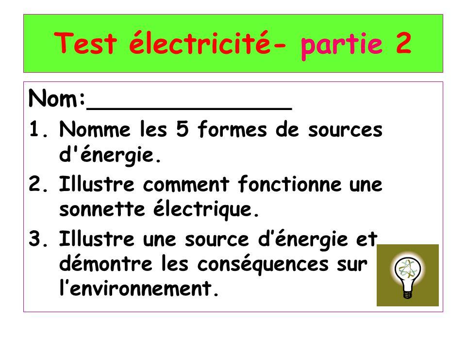 Test électricité- partie 2