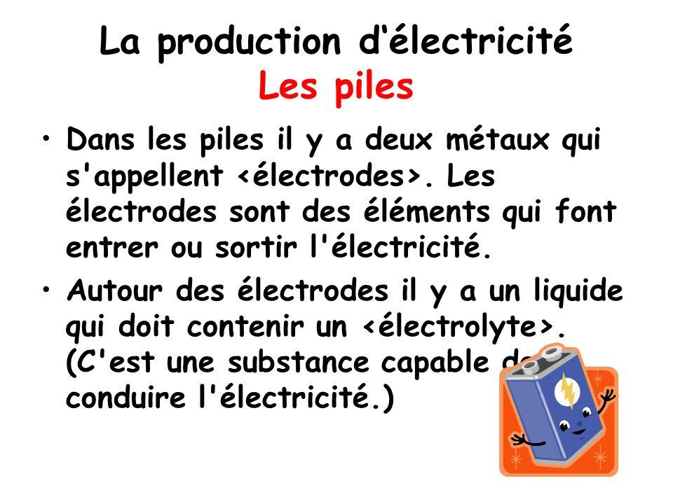 La production d'électricité Les piles