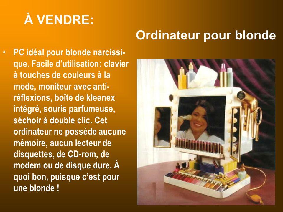 À VENDRE: Ordinateur pour blonde