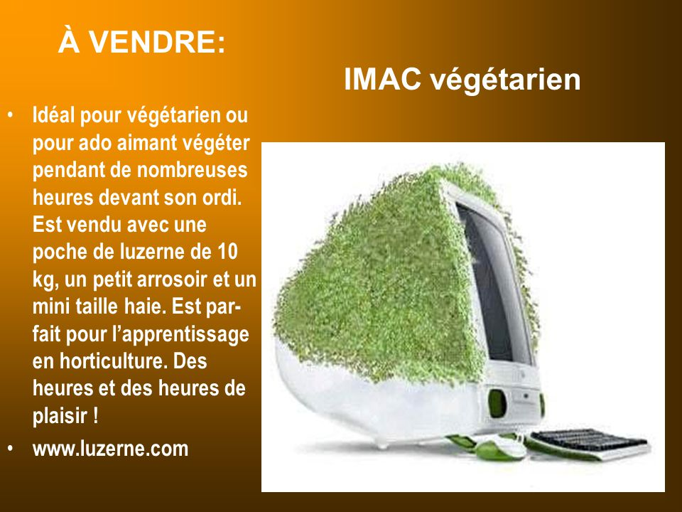 À VENDRE: IMAC végétarien