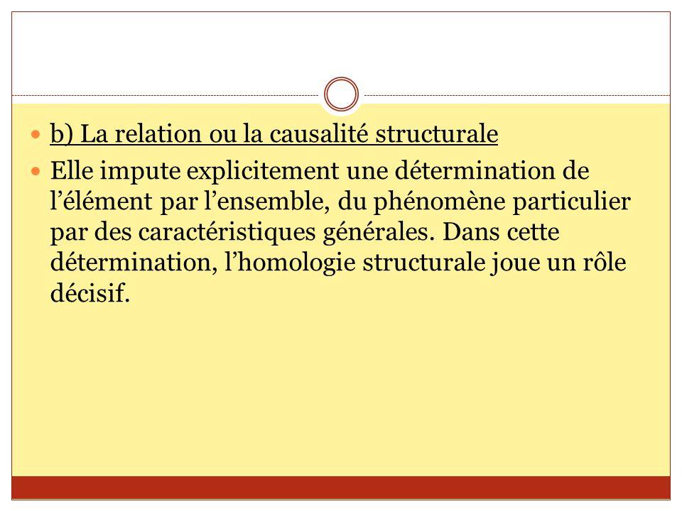 b) La relation ou la causalité structurale