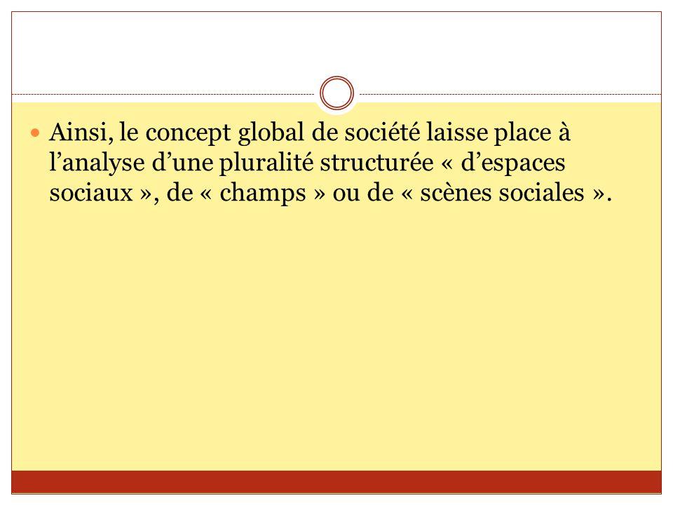 Ainsi, le concept global de société laisse place à l'analyse d'une pluralité structurée « d'espaces sociaux », de « champs » ou de « scènes sociales ».