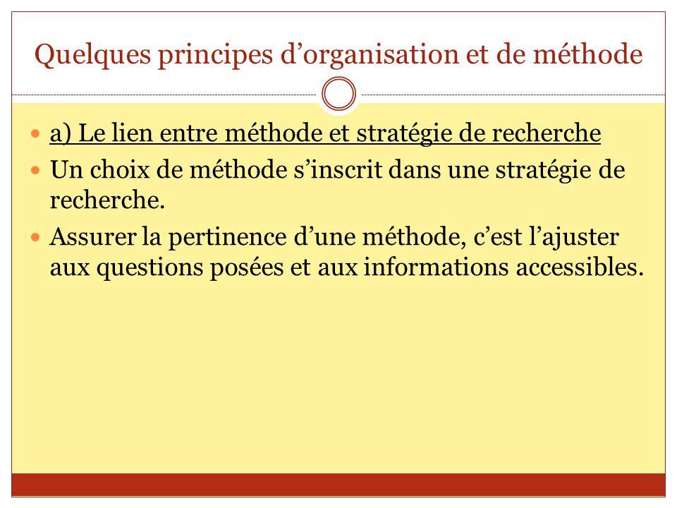 Quelques principes d'organisation et de méthode