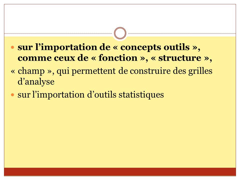 sur l'importation de « concepts outils », comme ceux de « fonction », « structure »,