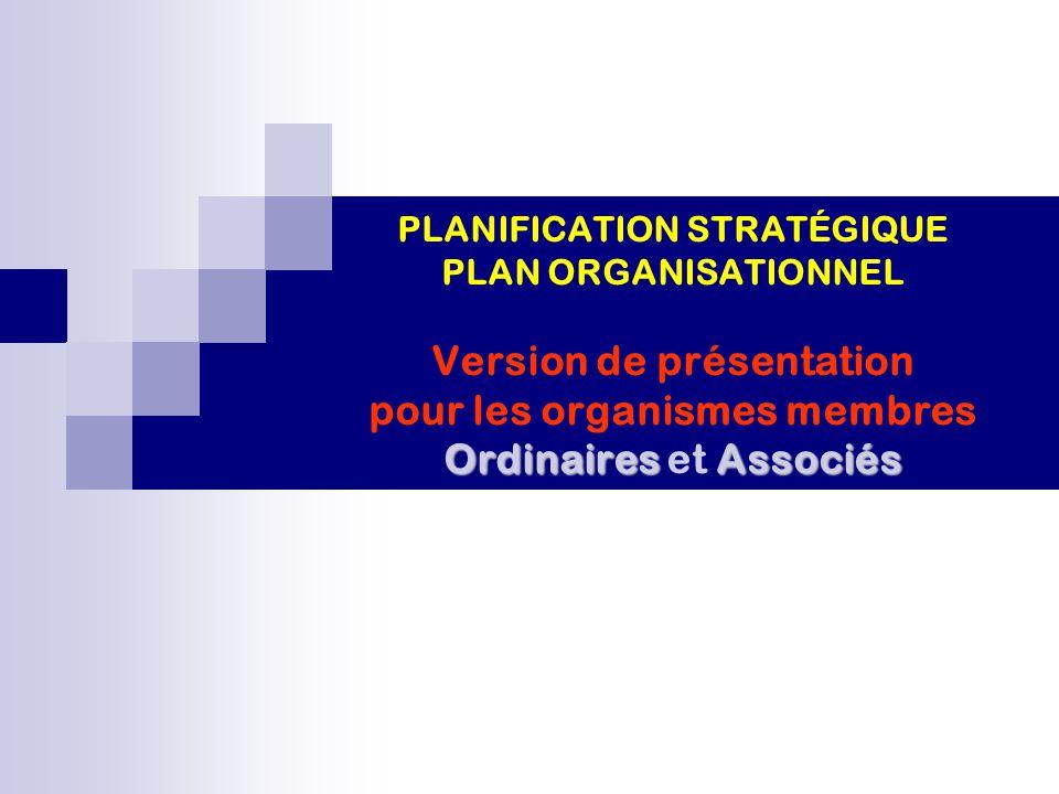 PLANIFICATION STRATÉGIQUE PLAN ORGANISATIONNEL Version de présentation pour les organismes membres Ordinaires et Associés