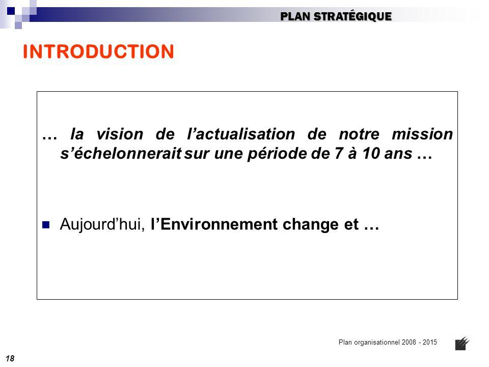 PLAN STRATÉGIQUE INTRODUCTION. … la vision de l'actualisation de notre mission s'échelonnerait sur une période de 7 à 10 ans …