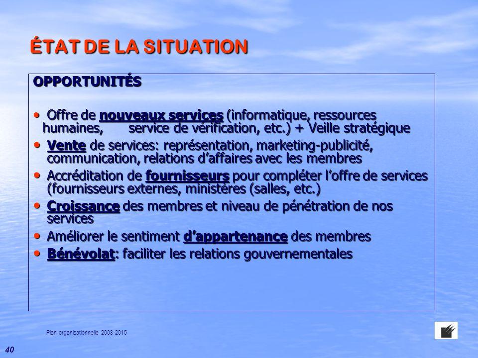 ÉTAT DE LA SITUATION OPPORTUNITÉS