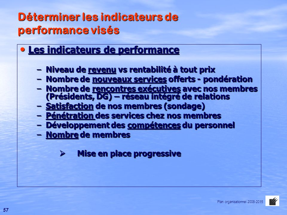 Déterminer les indicateurs de performance visés