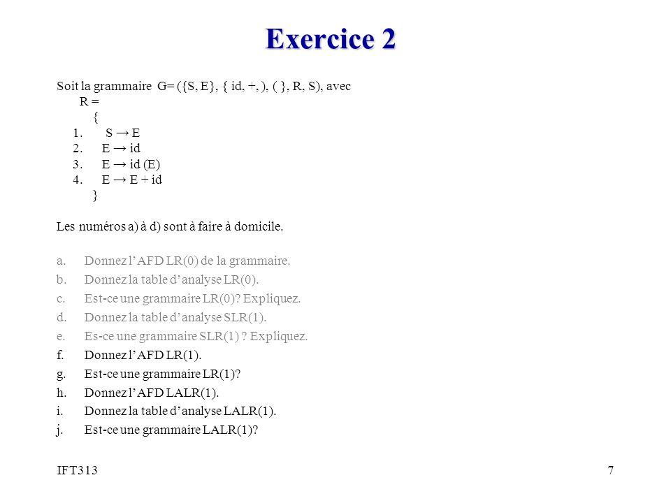 Exercice 2 Soit la grammaire G= ({S, E}, { id, +, ), ( }, R, S), avec