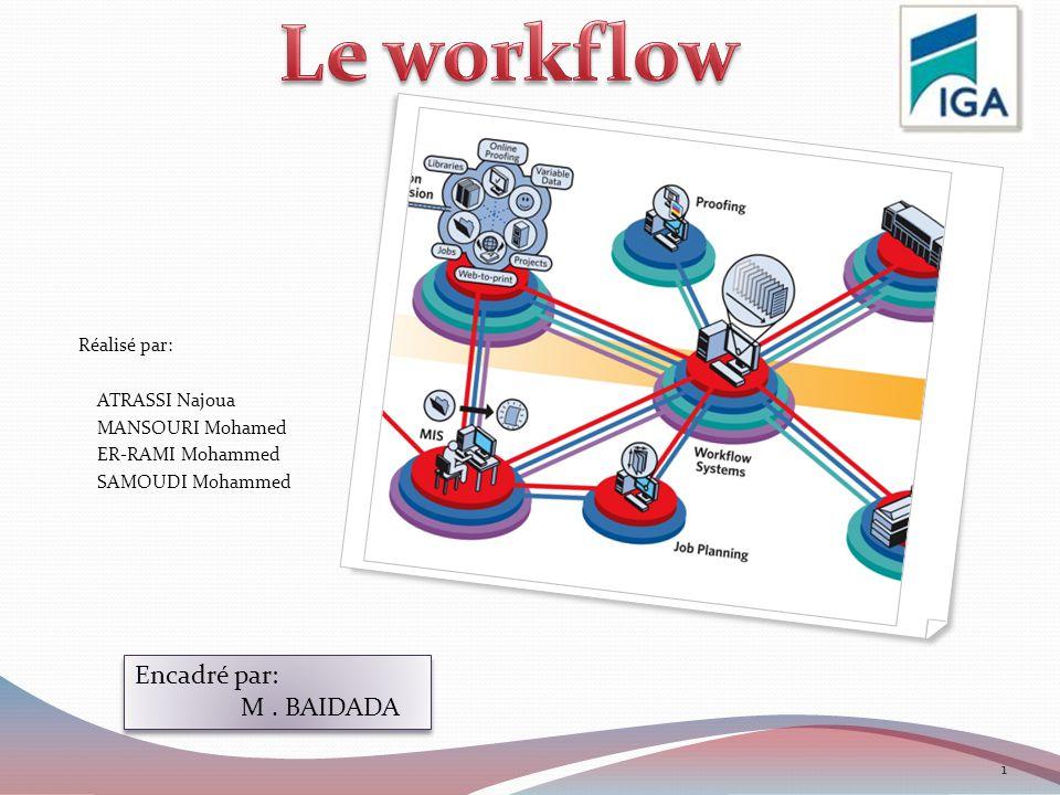 Le workflow Encadré par: M . BAIDADA Réalisé par: ATRASSI Najoua