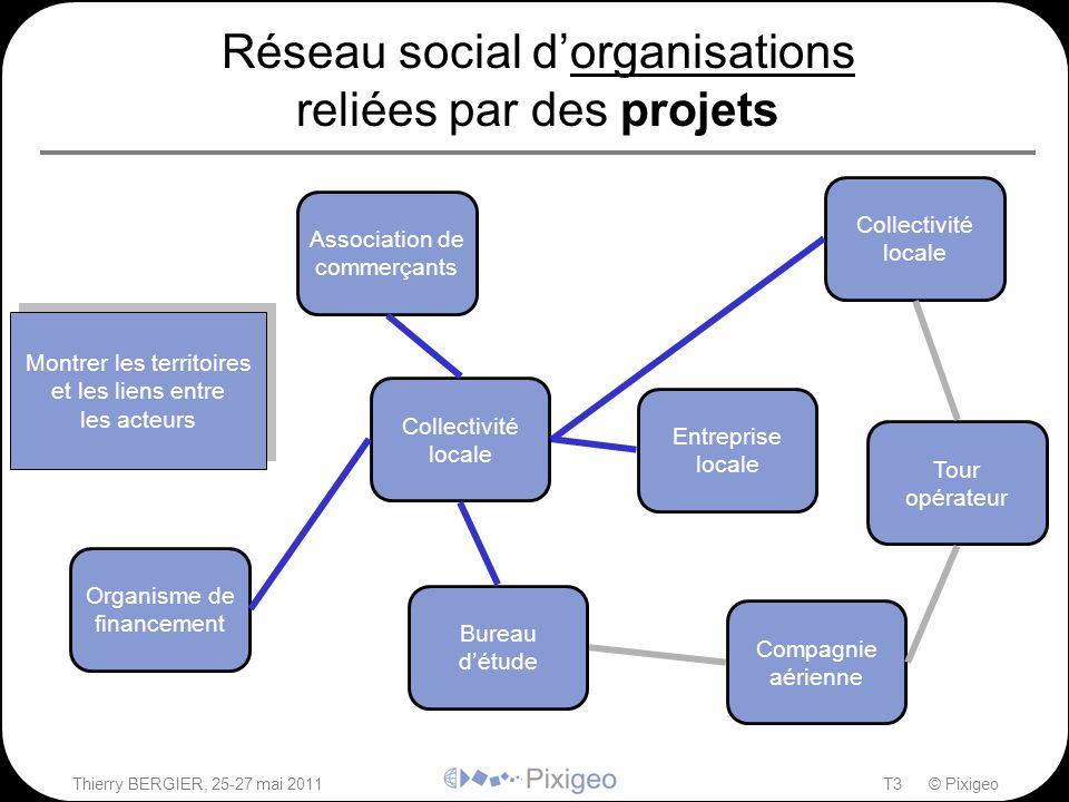 Réseau social d'organisations reliées par des projets