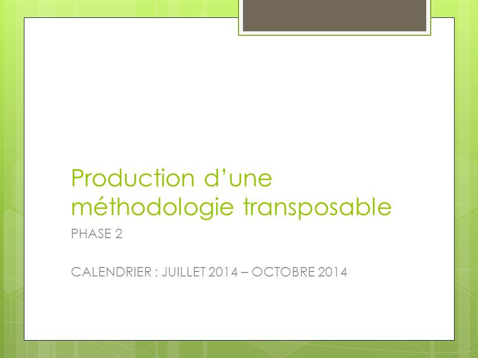 Production d'une méthodologie transposable
