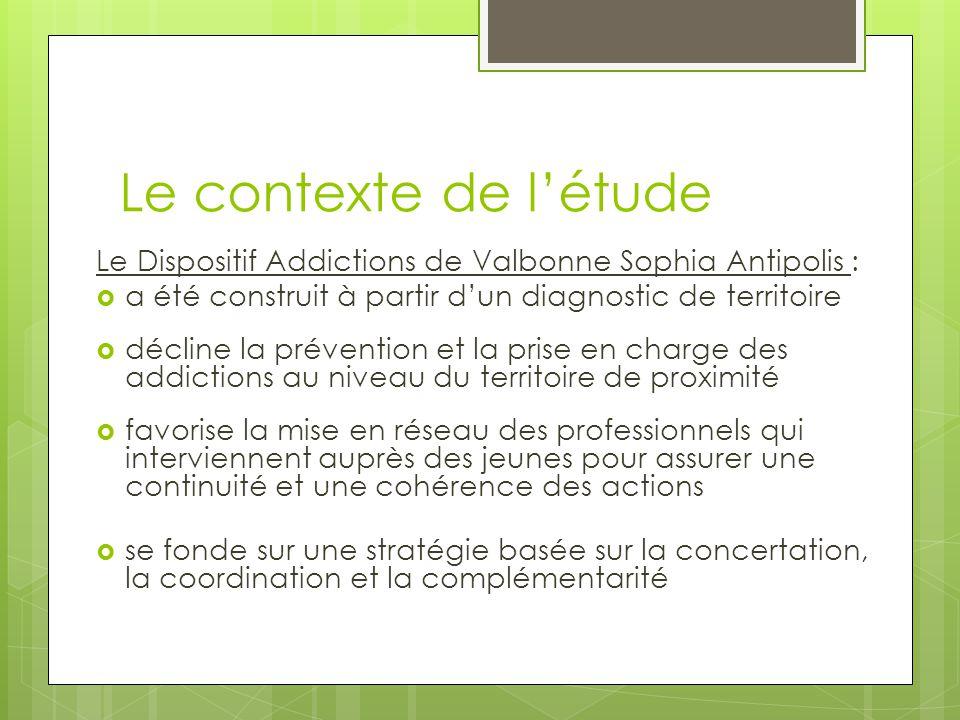 Le contexte de l'étude Le Dispositif Addictions de Valbonne Sophia Antipolis : a été construit à partir d'un diagnostic de territoire.