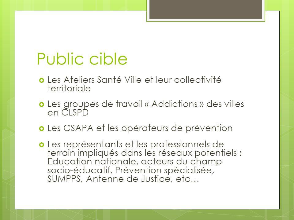Public cible Les Ateliers Santé Ville et leur collectivité territoriale. Les groupes de travail « Addictions » des villes en CLSPD.
