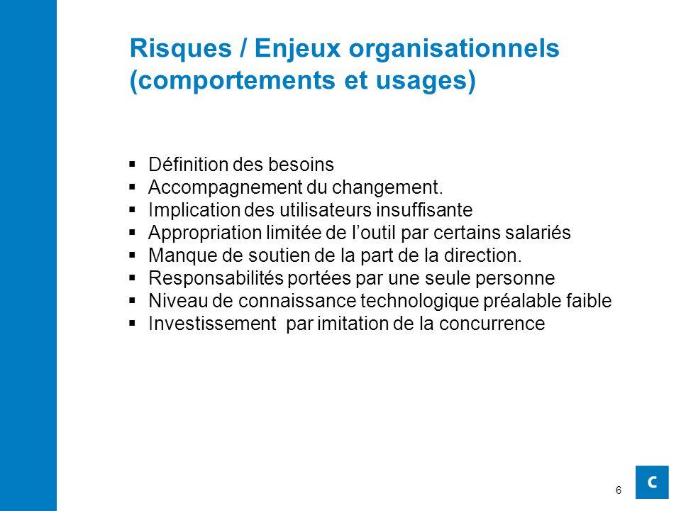 Risques / Enjeux organisationnels (comportements et usages)