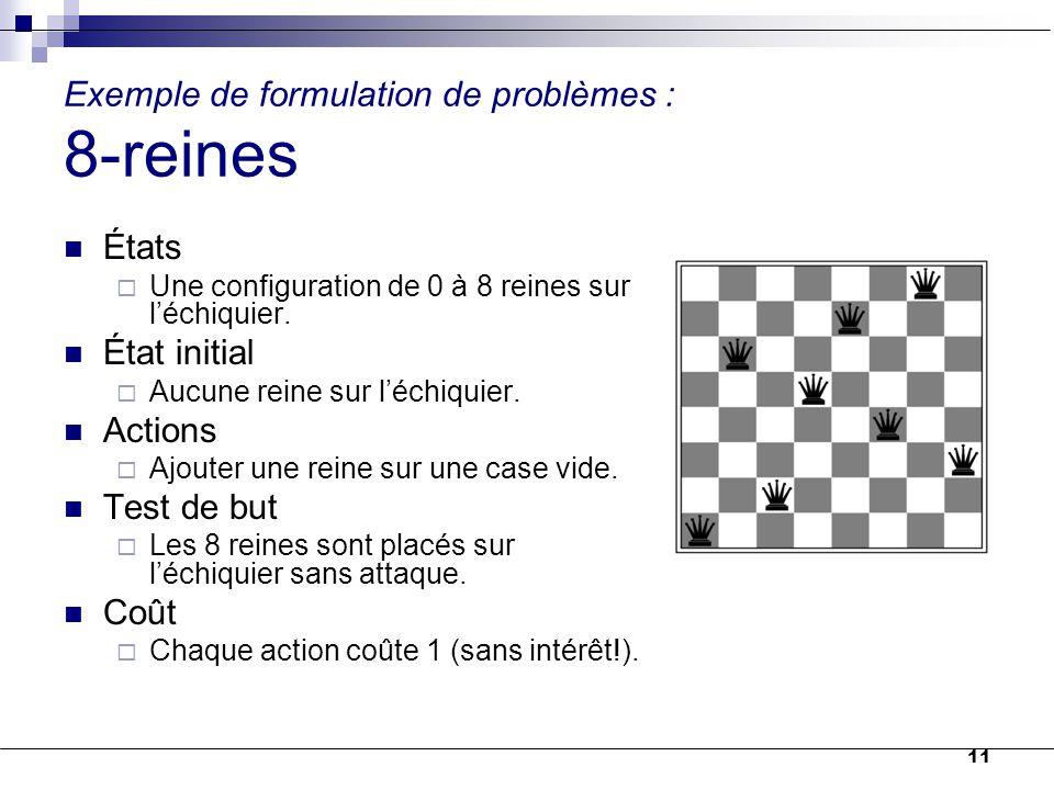 Exemple de formulation de problèmes : 8-reines