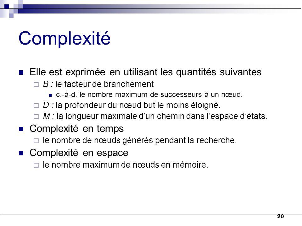 Complexité Elle est exprimée en utilisant les quantités suivantes