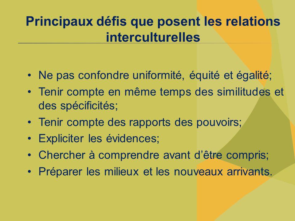Principaux défis que posent les relations interculturelles