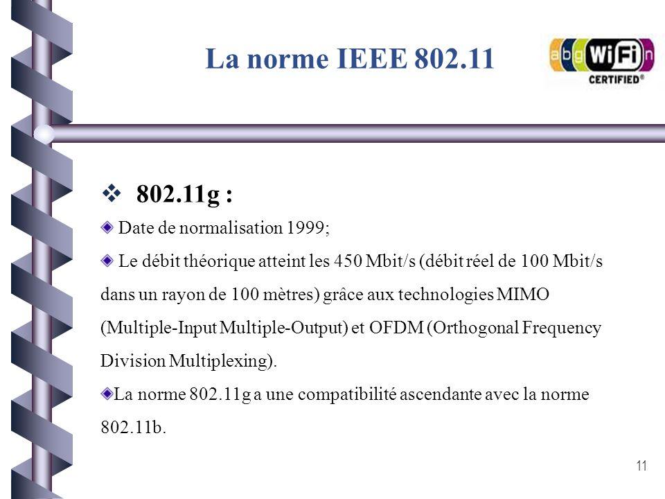 La norme IEEE 802.11 802.11g : Date de normalisation 1999;