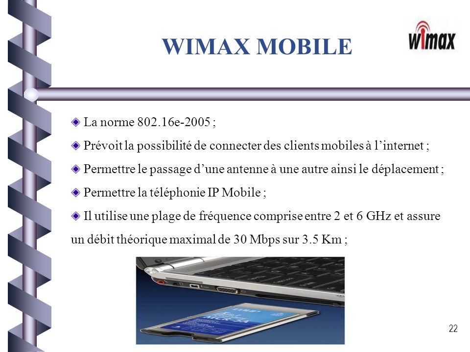 WIMAX MOBILE La norme 802.16e-2005 ;