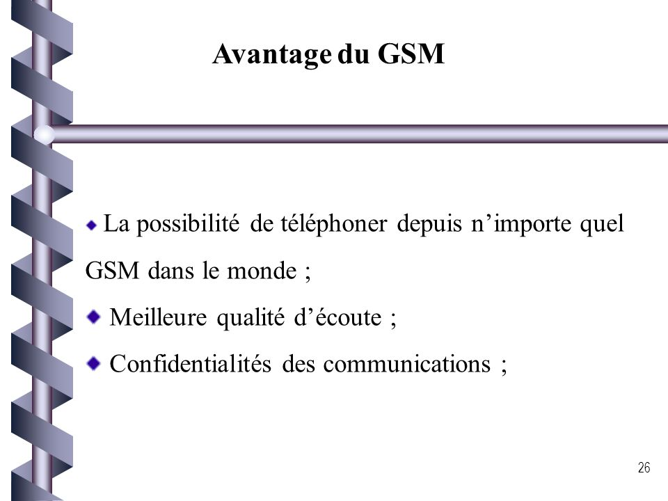 Avantage du GSM Meilleure qualité d'écoute ;