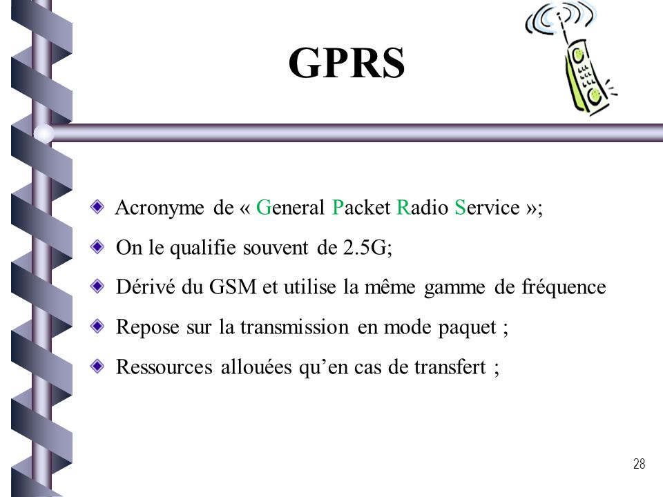 GPRS Acronyme de « General Packet Radio Service »;