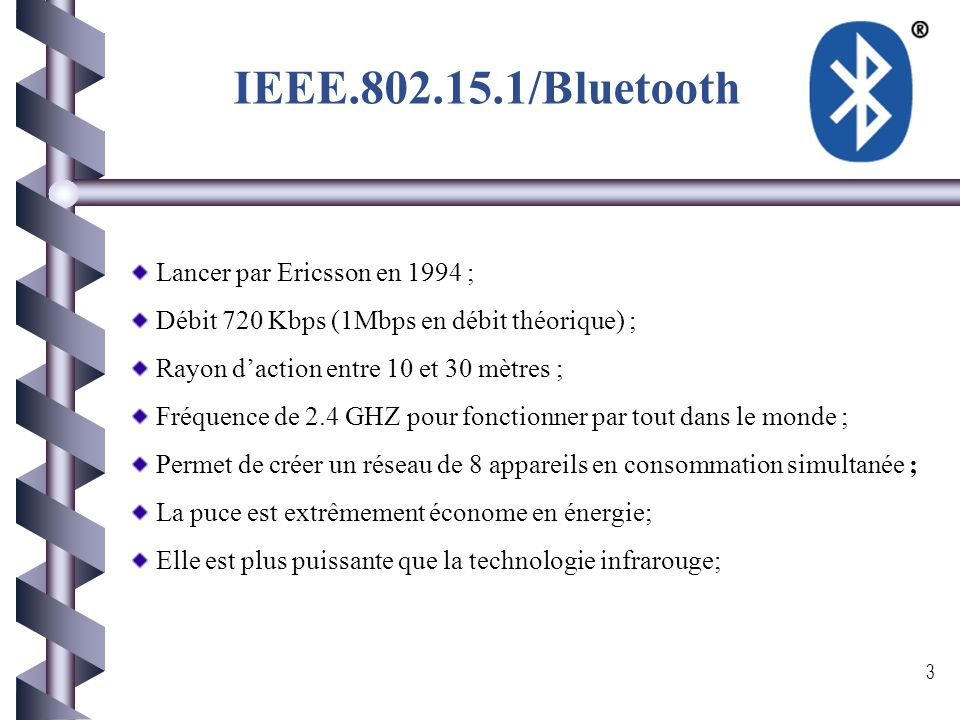 IEEE.802.15.1/Bluetooth Lancer par Ericsson en 1994 ;