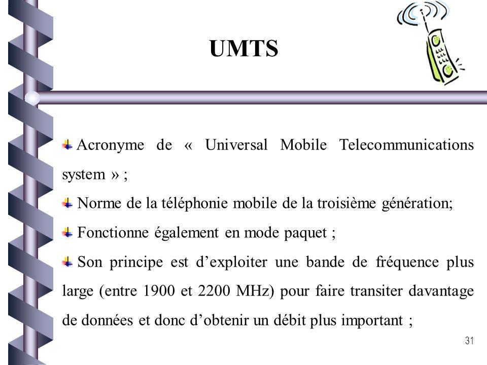 UMTS Acronyme de « Universal Mobile Telecommunications system » ;