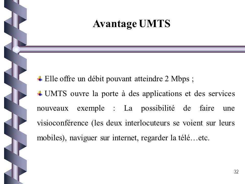 Avantage UMTS Elle offre un débit pouvant atteindre 2 Mbps ;