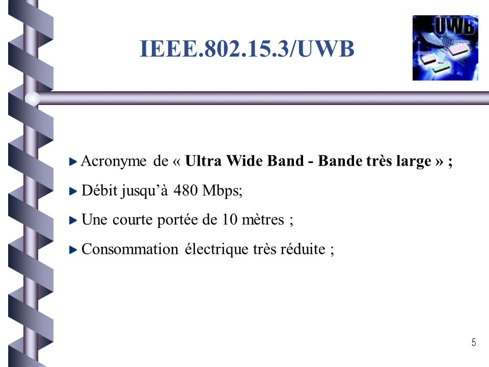 IEEE.802.15.3/UWB Acronyme de « Ultra Wide Band - Bande très large » ;
