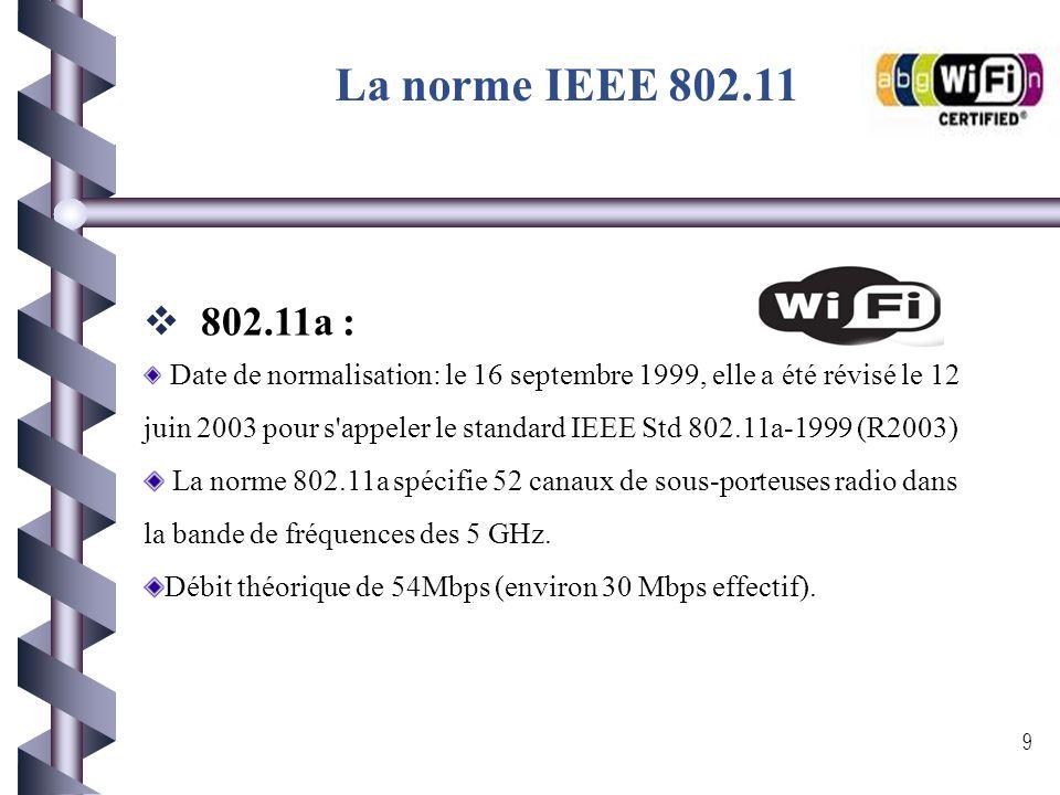 La norme IEEE 802.11 802.11a :
