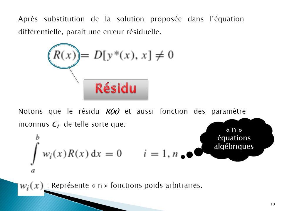 « n » équations algébriques