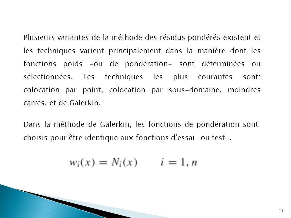 Plusieurs variantes de la méthode des résidus pondérés existent et les techniques varient principalement dans la manière dont les fonctions poids -ou de pondération- sont déterminées ou sélectionnées. Les techniques les plus courantes sont: colocation par point, colocation par sous-domaine, moindres carrés, et de Galerkin.