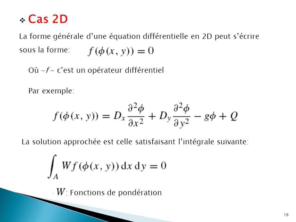 Cas 2D La forme générale d'une équation différentielle en 2D peut s'écrire sous la forme: Où -f - c'est un opérateur différentiel.
