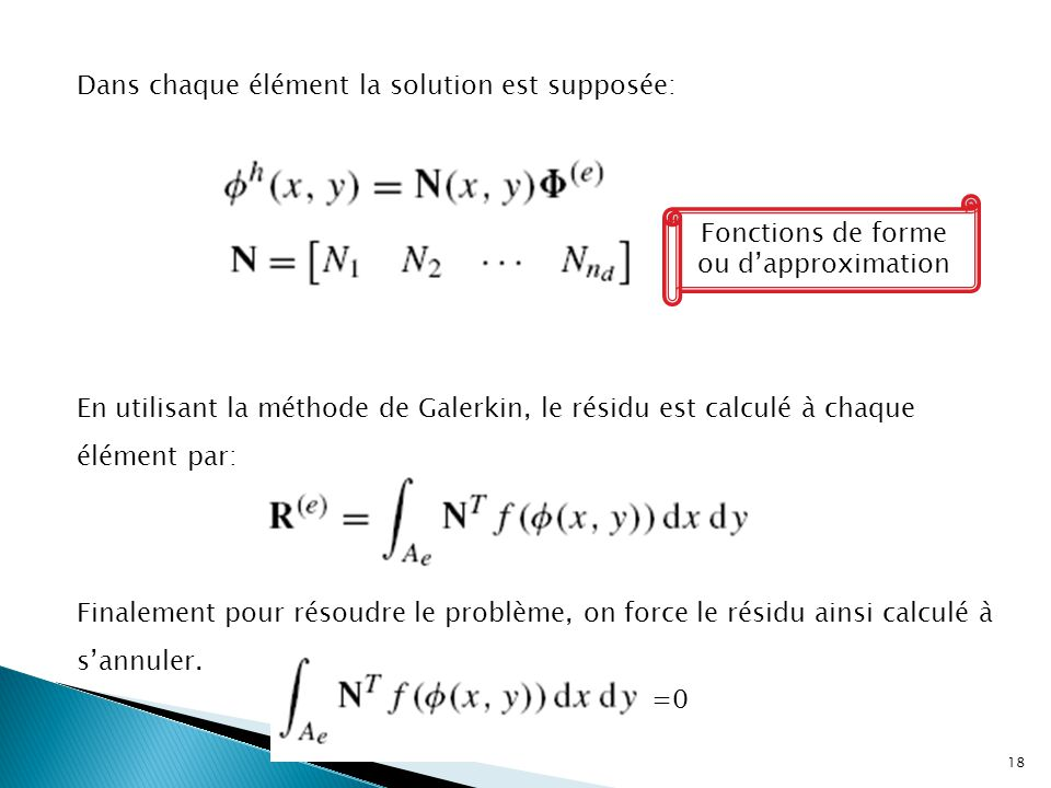 Fonctions de forme ou d'approximation