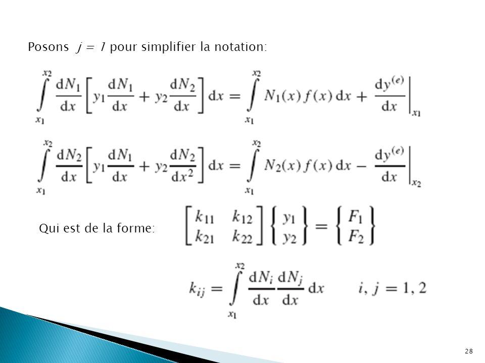 Posons j = 1 pour simplifier la notation: