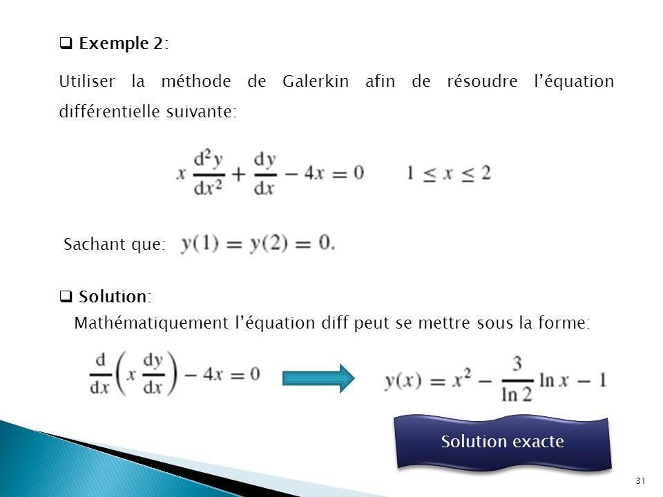 Exemple 2: Utiliser la méthode de Galerkin afin de résoudre l'équation différentielle suivante: Sachant que:
