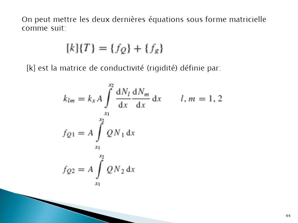 On peut mettre les deux dernières équations sous forme matricielle comme suit: